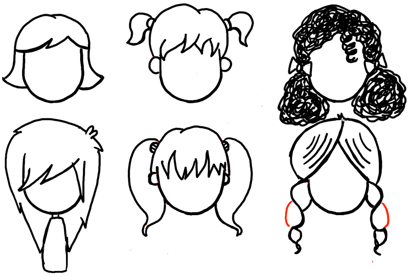How To Draw Girls Hair Styles For Cartoon Characters Drawing Tutorial How To Draw Step By Step Drawing Tutorials Cartoon Style Drawing Cartoon Hair How To Draw Hair