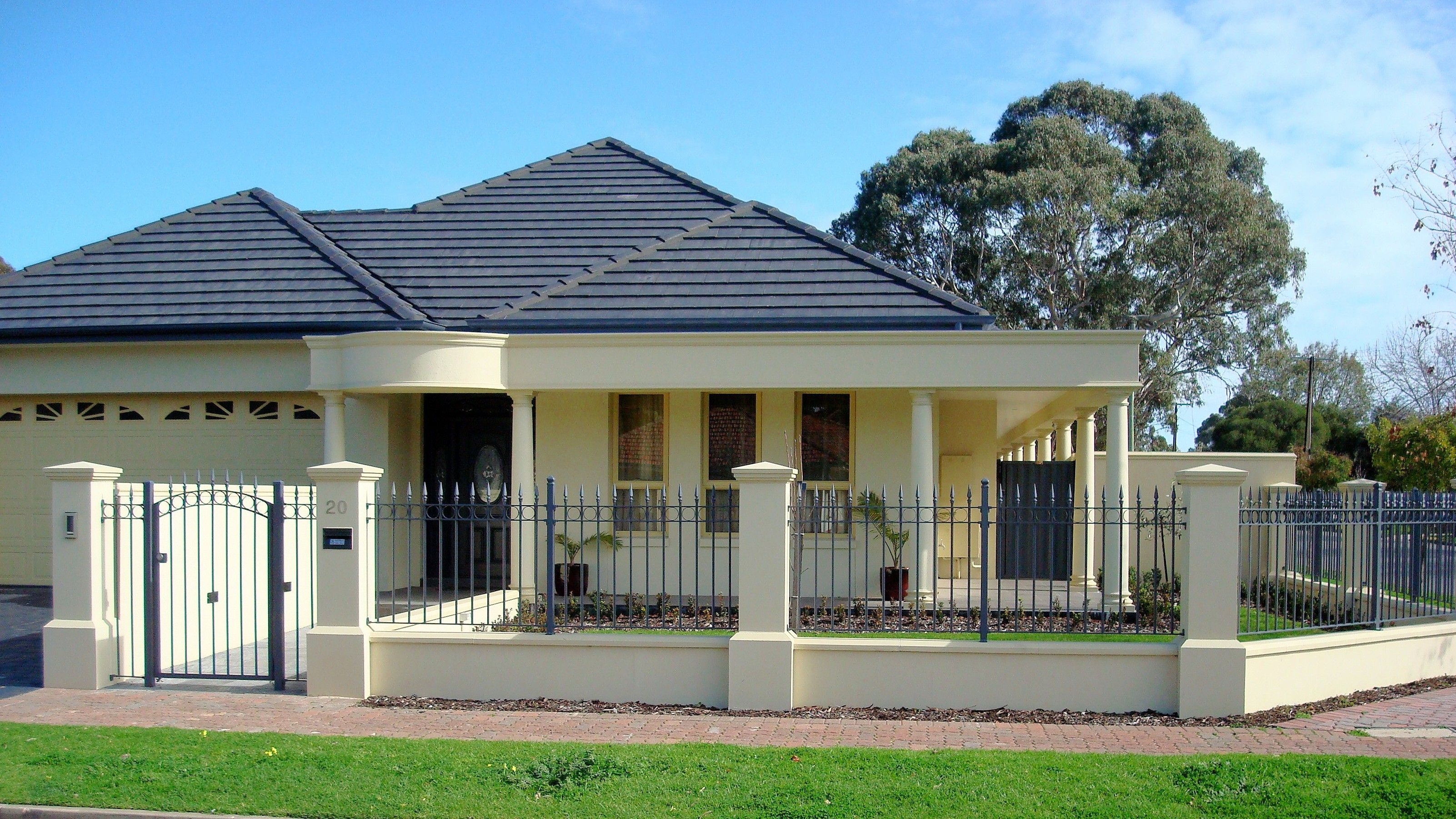 sandstone fence pillars plinth and spearpoint infill - Wall Fencing Designs