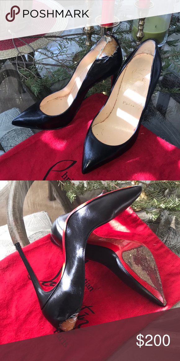 c26c2e957d7 Louboutins have seen better days! Damaged red bottom. Louboutin ...