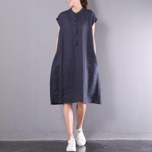 Navy Casual Linen Dresses Plus Size Button Sundress Short Sleeve