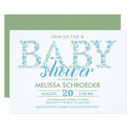 Simple Baby Shower Invitation For Boys Blue Green Shower