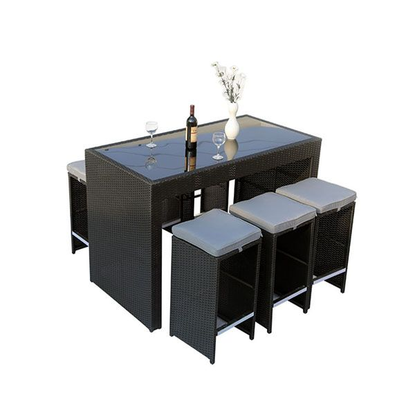 bar de jardin en r sine tress e milan atlanta noir 1 table bar 6 tabourets salons de. Black Bedroom Furniture Sets. Home Design Ideas