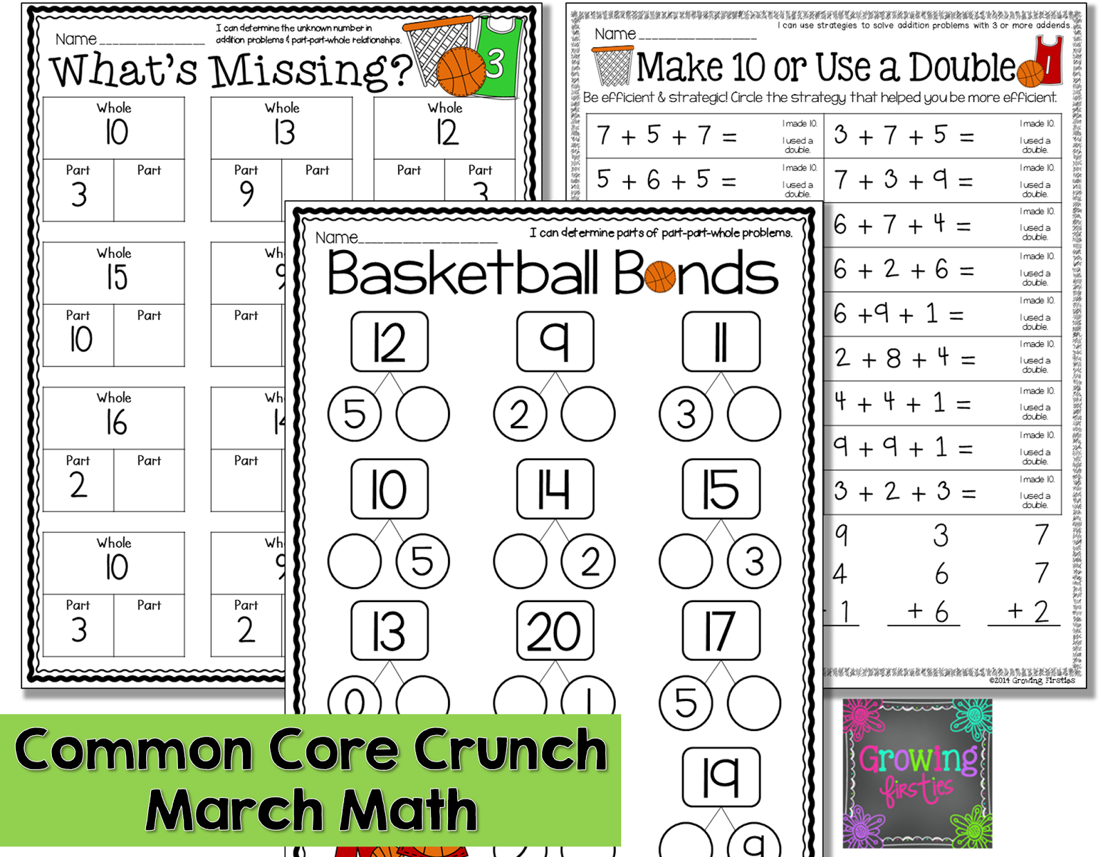 Part Part Whole And March Printables 1st Grade Math March Math 1st Grade Math Worksheets [ 1237 x 1600 Pixel ]
