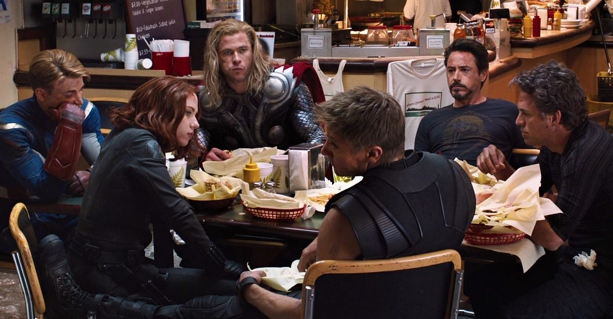 Image result for movie closing credits and avengers diner