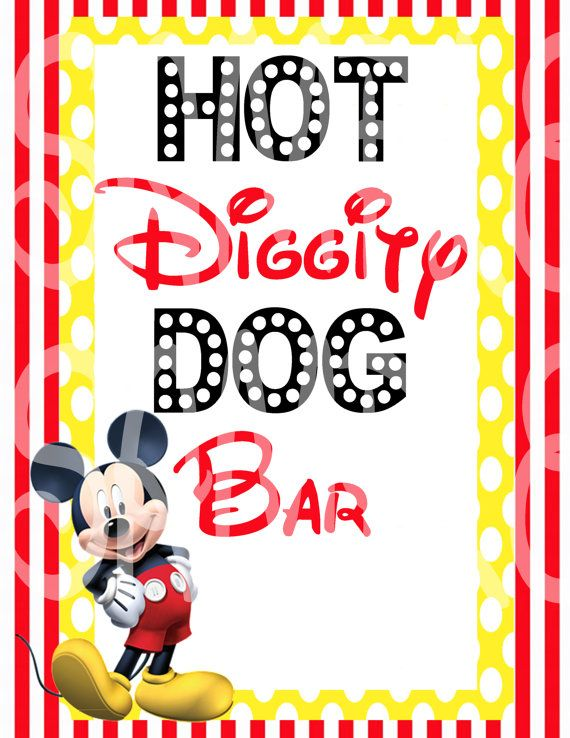 graphic about Hot Diggity Dog Bar Free Printable known as Mickey Mouse Impressed Scorching Diggity Pet Bar Signal 8.5 X 11 Indication