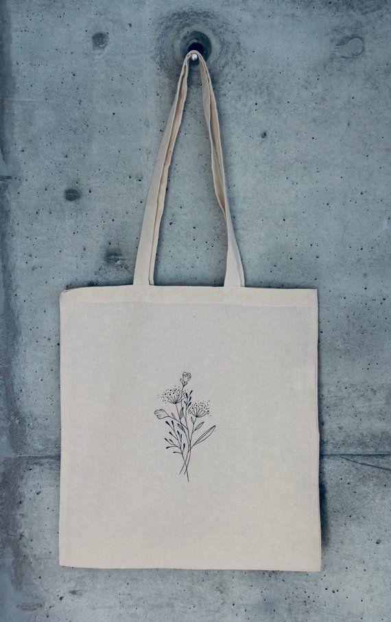 Jutebag flowers lineart