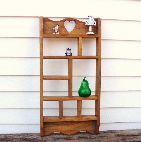 Vintage Wooden Knick Knack Shelf Wall Mounted Display Shelf Heart