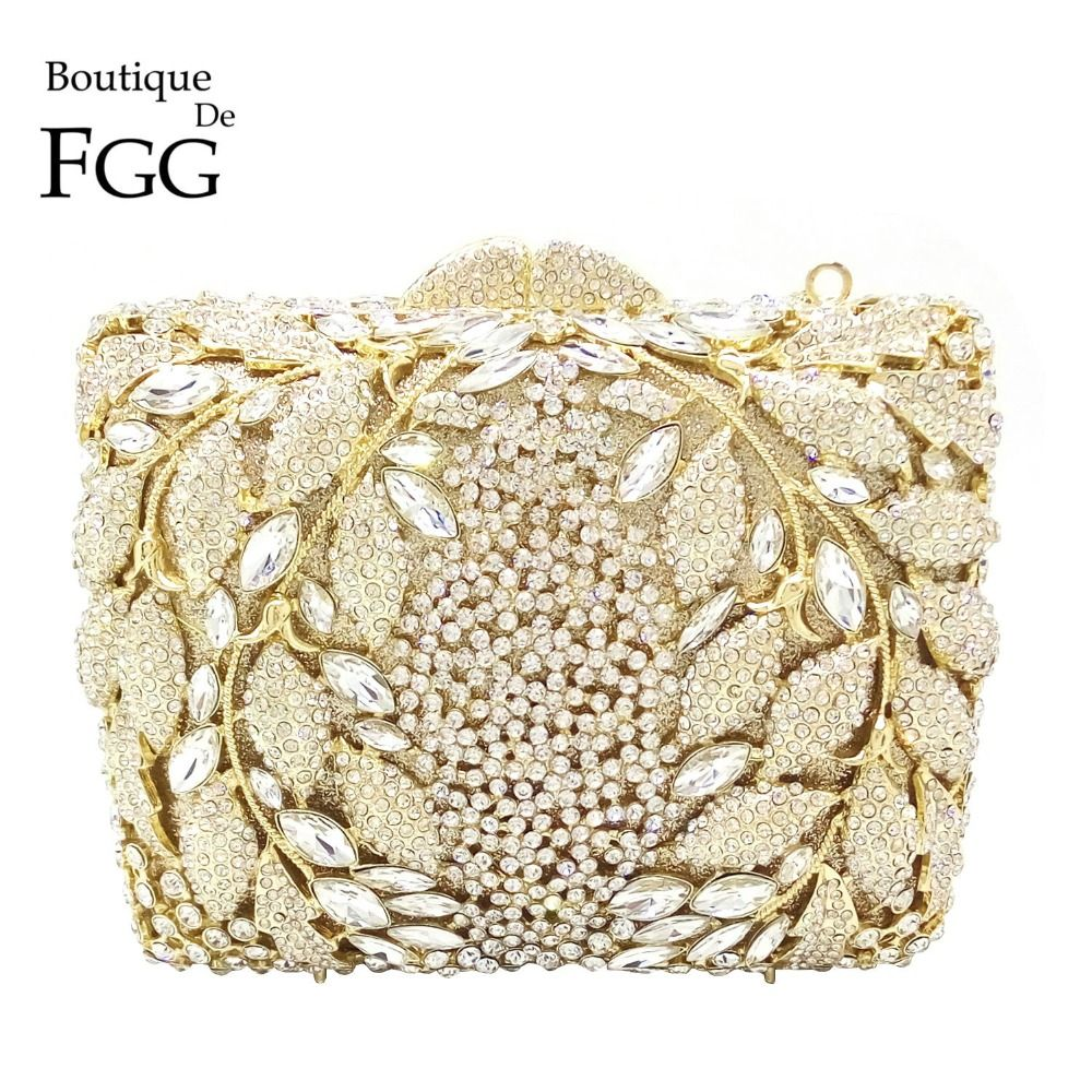New Women's Diamante Floral Embellishment Wedding Prom Clutch Bag