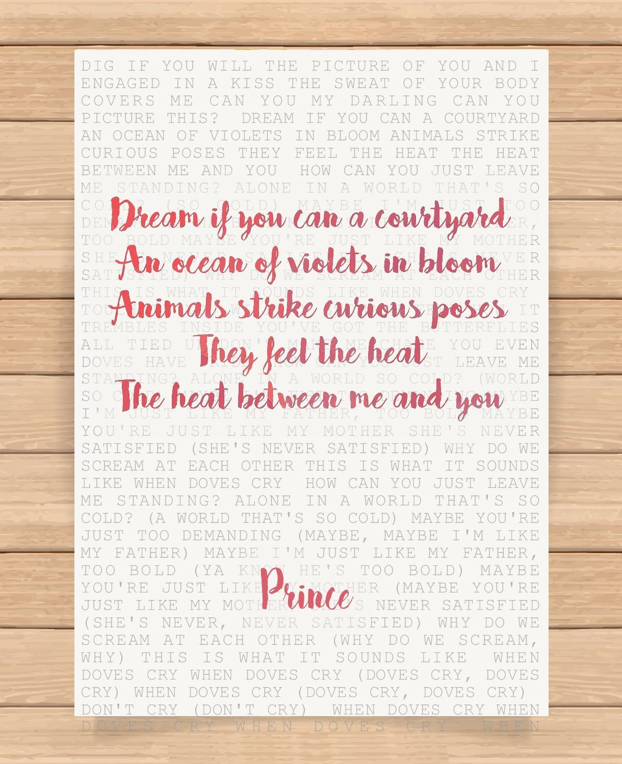 Prince Song Lyrics Quotes Wedding Anniversary Romantic Love Presents Gifts For Husband Wife Him Her Girlfri Song Lyric Quotes Boyfriend Valentine Romantic Love