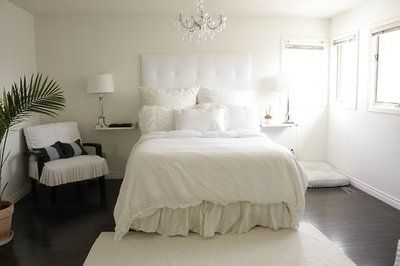 White Plank Walls Off White Walls And Dark Wood Floors Perfection Just Add Dark Wood White Bedroom Bedroom Interior Trendy Bedroom