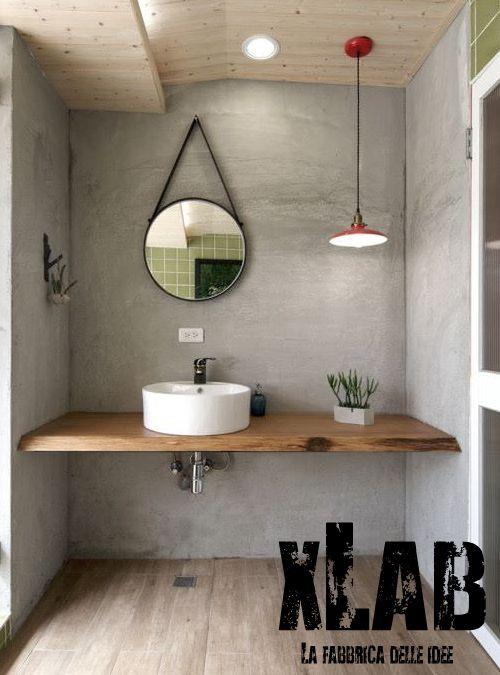 mensola top piano lavabo in legno massello, costruito interamente ... - Lavabo Per Top