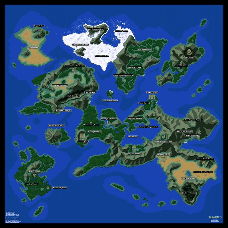 Seiken Densetsu 3 Secret Of Mana 2 Overworld Poster Map 24 X 24