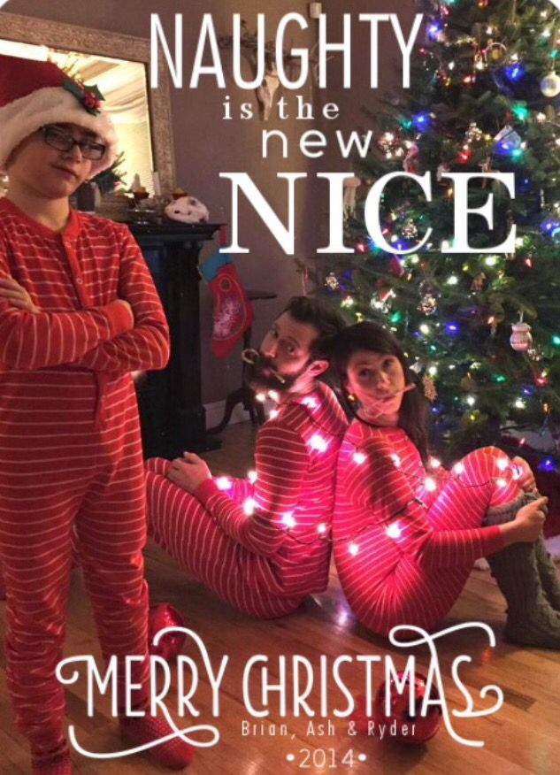 Funny family holiday Christmas card, naughty is the new nice, clever ...