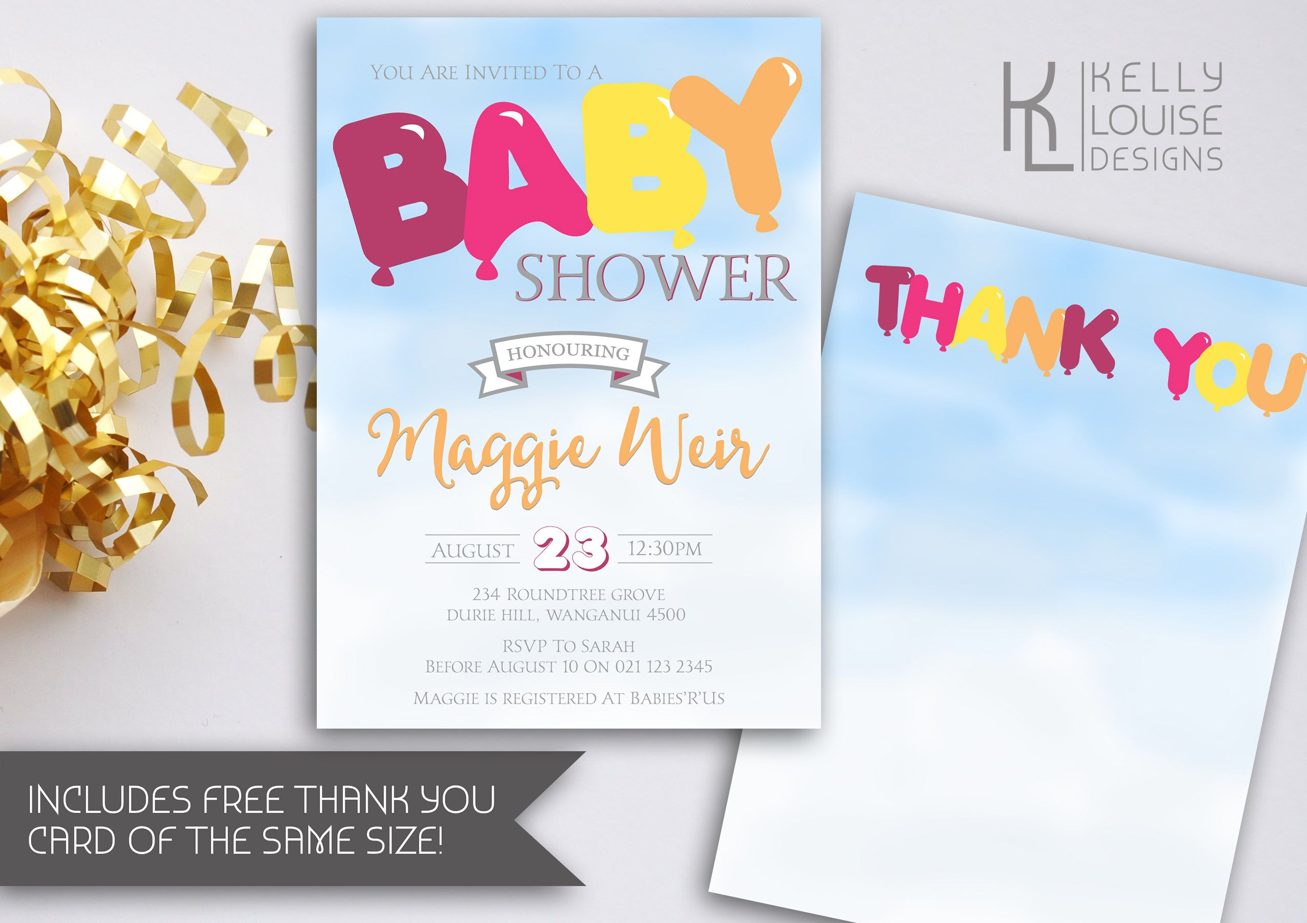 Balloon Baby Shower Invitation | Customise Colours | Girl Baby Shower | Party Balloons | Printable Baby Shower Invitation (174) by kellylouisedesigns on Etsy