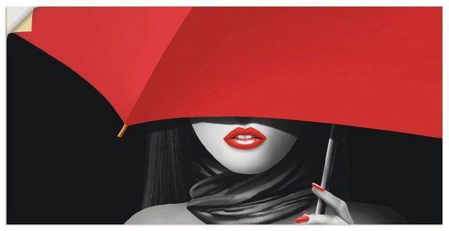 Premium Wandfolie »Mausopardia: Rote Lippen unter dem Regenschirm«