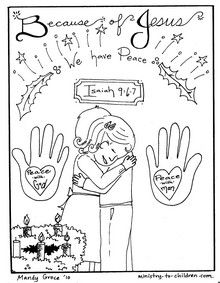 Sheet four of Advent coloring book. Click here for the