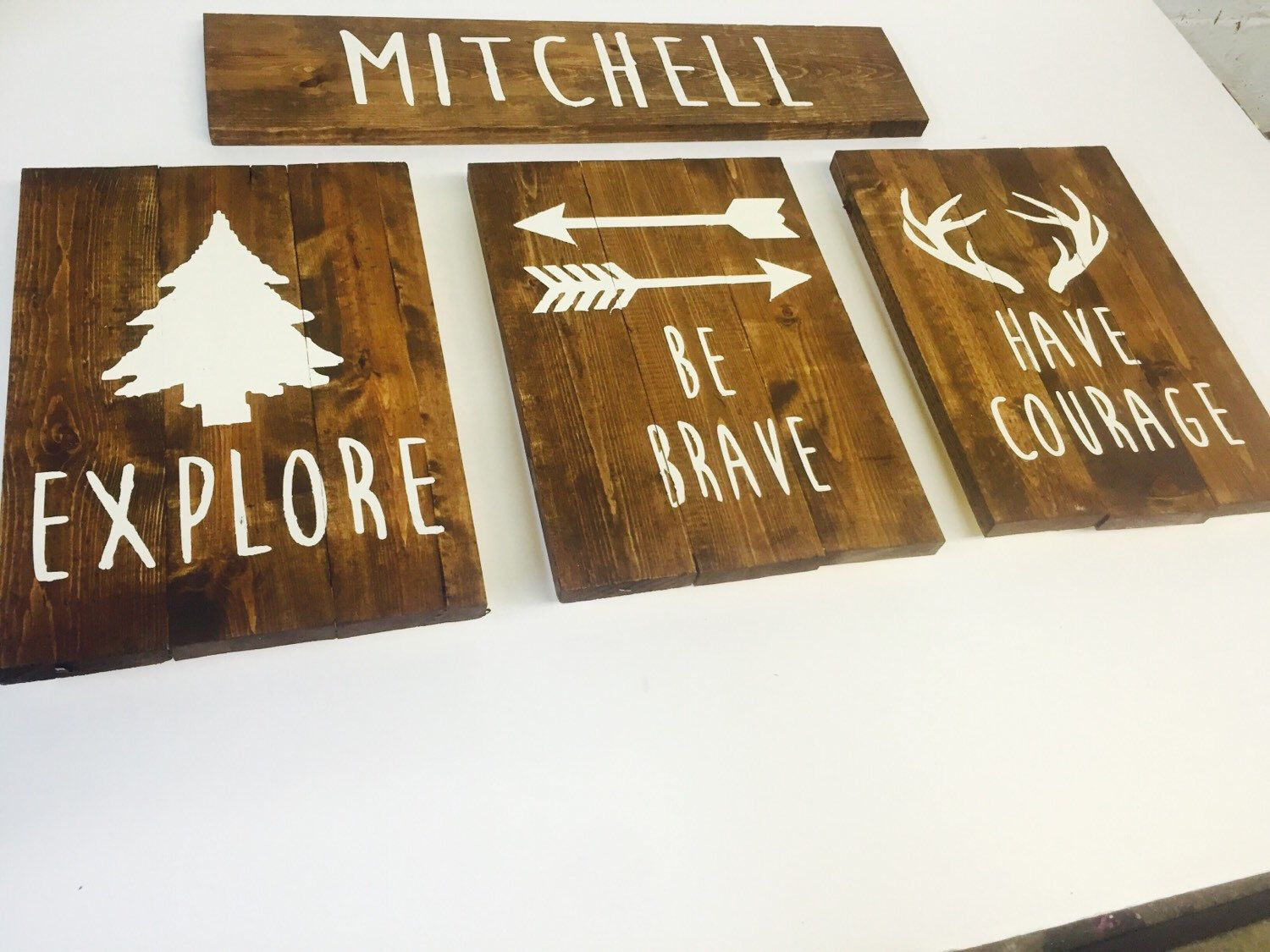 Explore be brave have courage pine tree antlers arrow rustic
