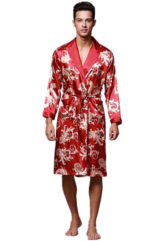 Mens Premium Satin Robe Shawl Collar Kimono Dragon Print Satin Robe ... 3c7a24bdd