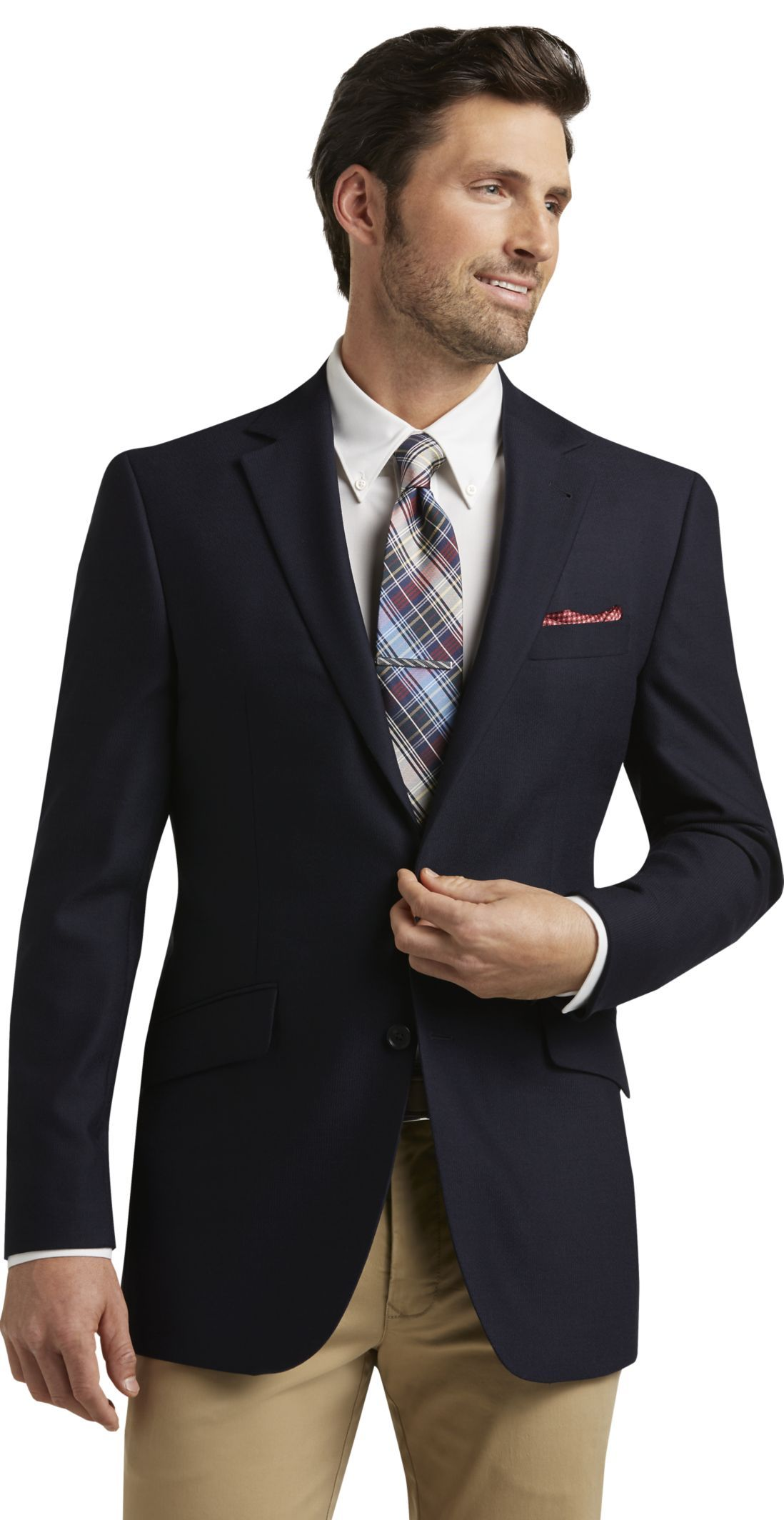 Reserve Collection Tailored Fit Navy Sportcoat Big & Tall