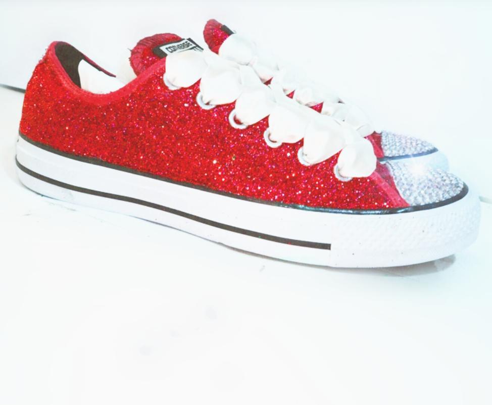 Womens Glitter   Crystals Converse All Stars Red - Glitter Shoe Co ... f1c35ae73a