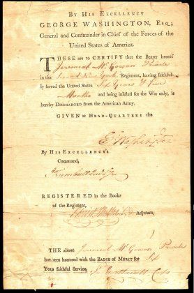 001 Military Discharge Papers,1783 American revolutionary