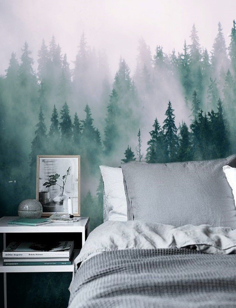 Green Forest Wallpaper Mural Removable Peel And Stick Etsy Wall Wallpaper Kids Room Wallpaper Forest Wall Mural