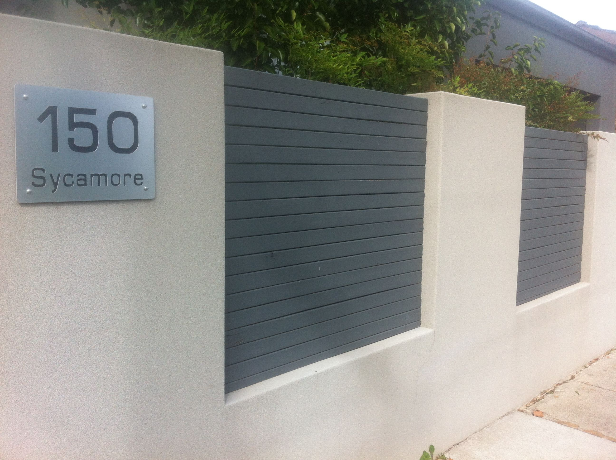 Rendered Fence Large House No Aluminium Slats To Soften Fence Look Needs Hedge Above And Colour Change Of Wall To Suit Fence Design Brick Fence Modern Fence