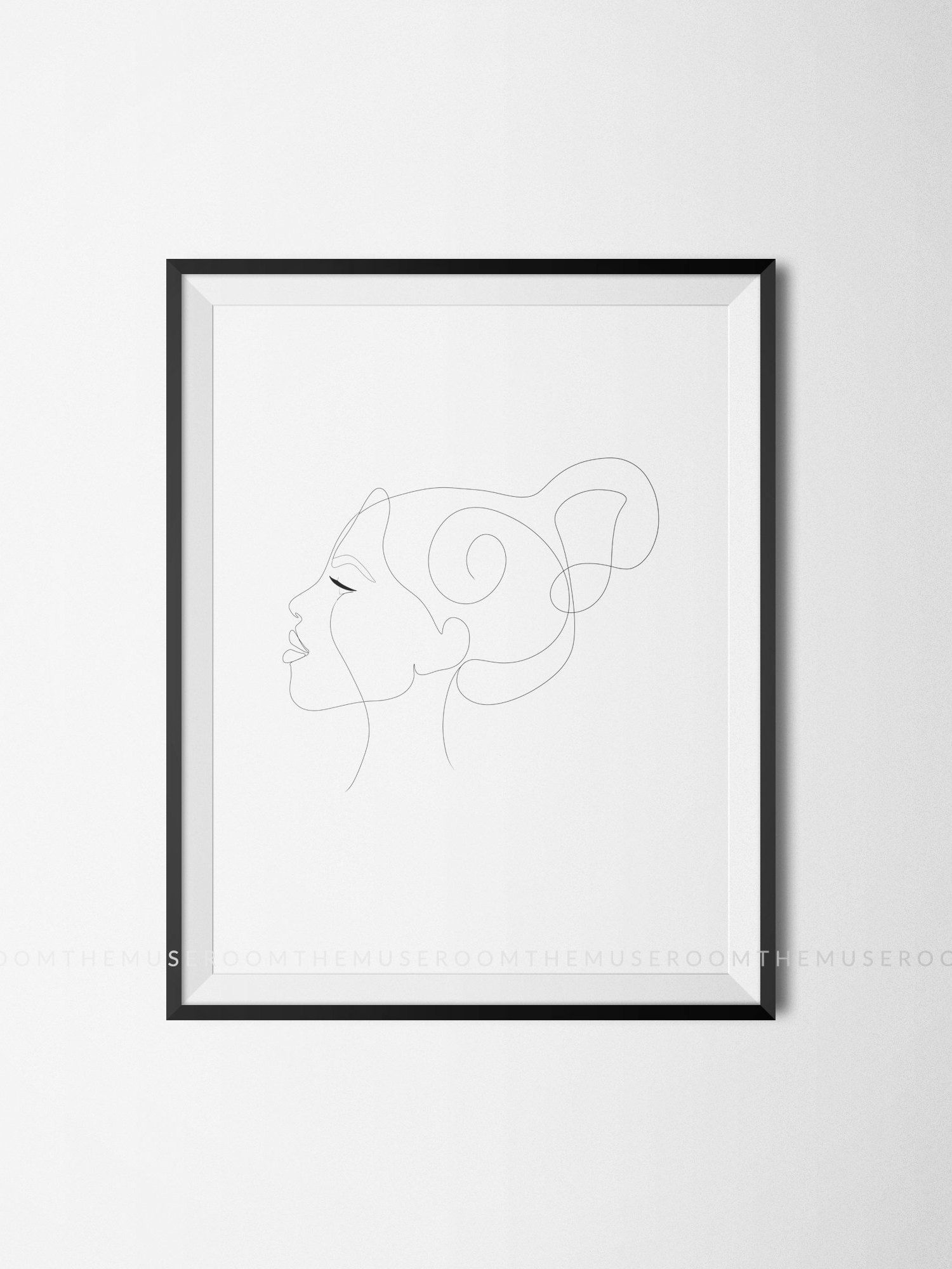 Line Drawing Poster, Single Line Drawing, Single Line Print, Abstract Line Art, Minimal Face Print, Side Profile Print, Hairstyle Print -   8 hairstyles Drawing profile ideas