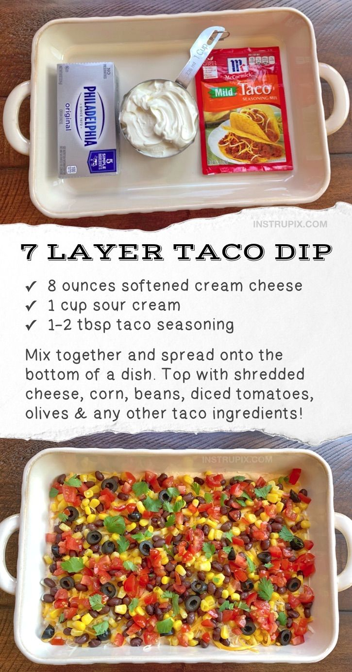 Easy 7 Layer Taco Dip (Make Ahead Party Appetizer For A Crowd) Quick, simple, cheap and served cold!