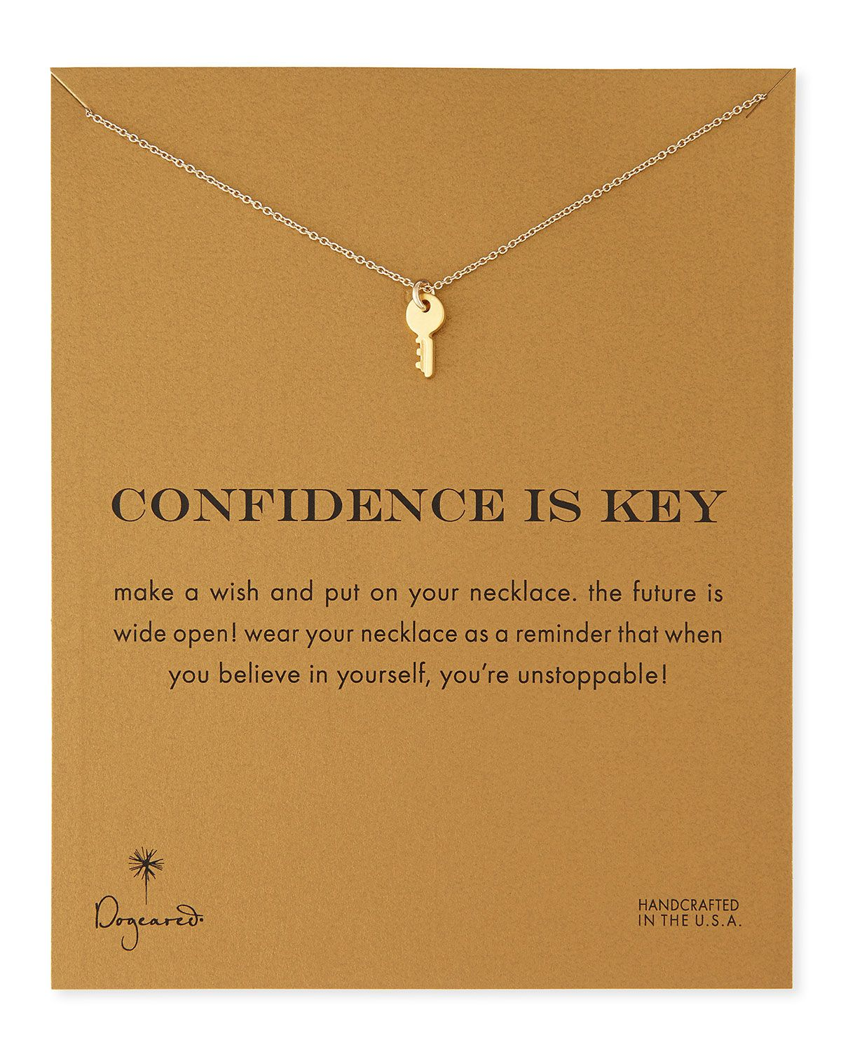 gold-dipped confidence is key necklace - cute | key necklace