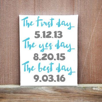 Personalized Date Wedding Canvas Best Day Ever