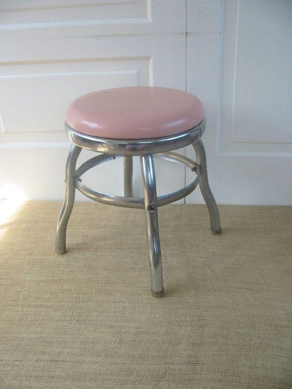 Vintage Metal Stool Pink Industrial Round Milking By Vintagejane Metal Stool Stool Vintage Stool