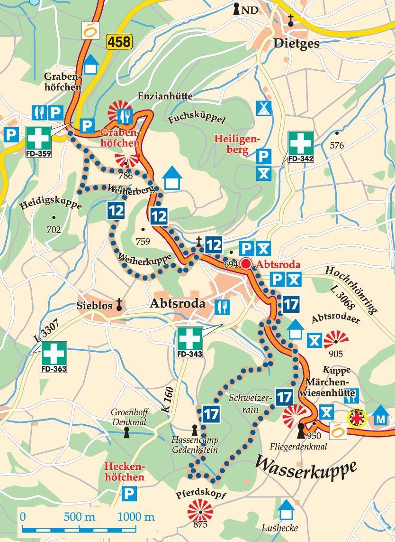 Rhon Rundweg 12 Abtsroda Karte Wanderurlaub Wasserkuppe Ausflug