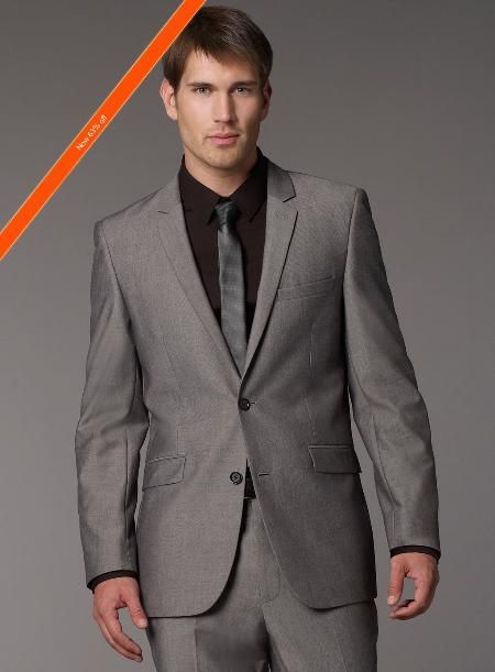 Grey Slim Fit Suit, Single Breasted Jacket, Flat Front Pants