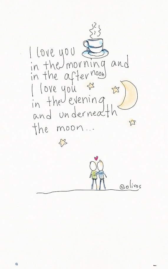 I love you print - Doodle wall art - Gift for girlfriend - gift for boyfriend - gift for her - gift