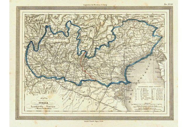 Venice Italy Region Map,  1885