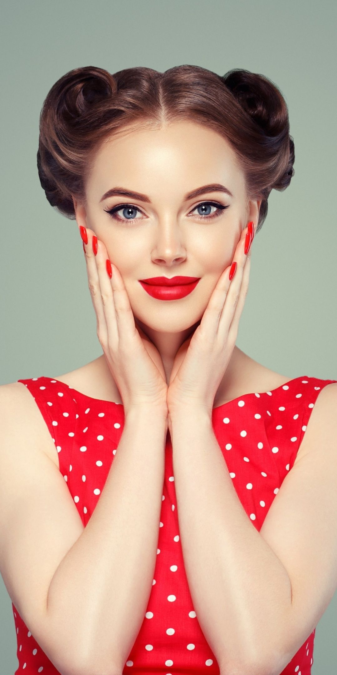 Red Lips Makeup Smile Woman Model 1080x2160 Wallpaper Red