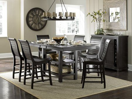 Willow Casual Distressed Black Wood Rectangular Counter Height Glamorous Willow Dining Room Decorating Inspiration