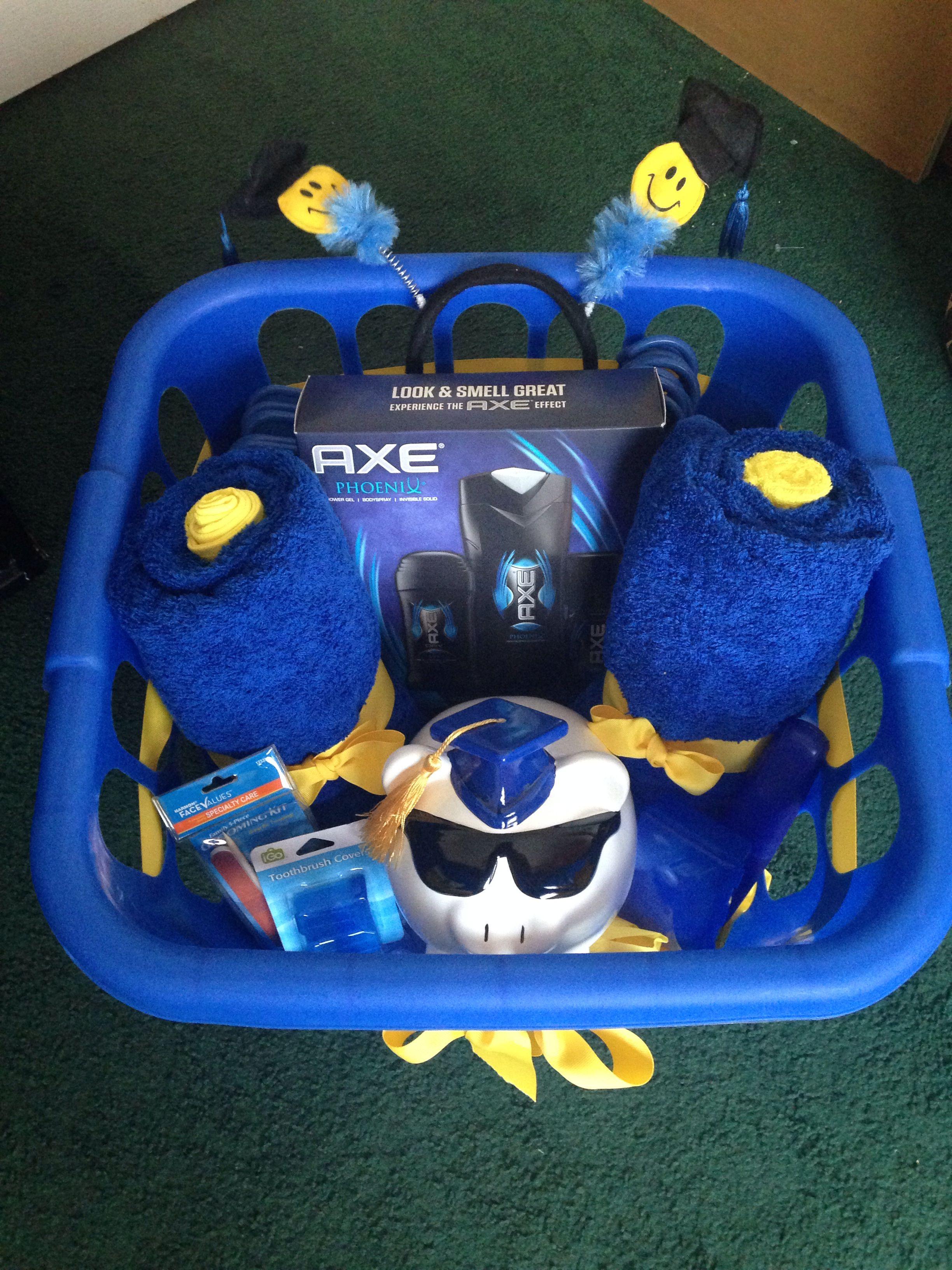 Cool graduation gift idea ! Fill a clothes hamper or shower caddy ...