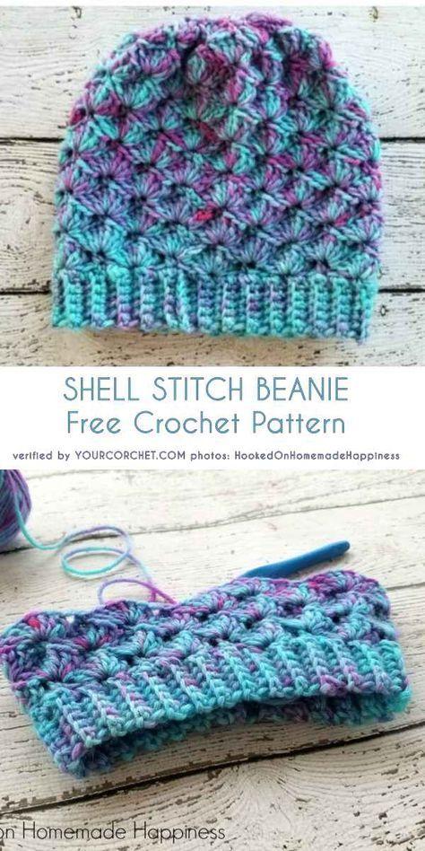 Emerald and Ochre Shell Stitch Beanies
