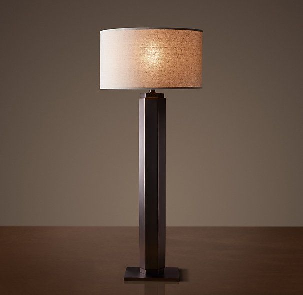 Hexagonal Column Buffet Lamp - Bronze