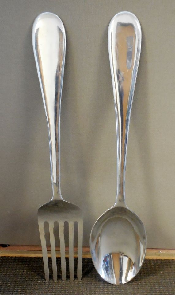 Large Silver Spoon And Fork Wall Decor The Best Orange