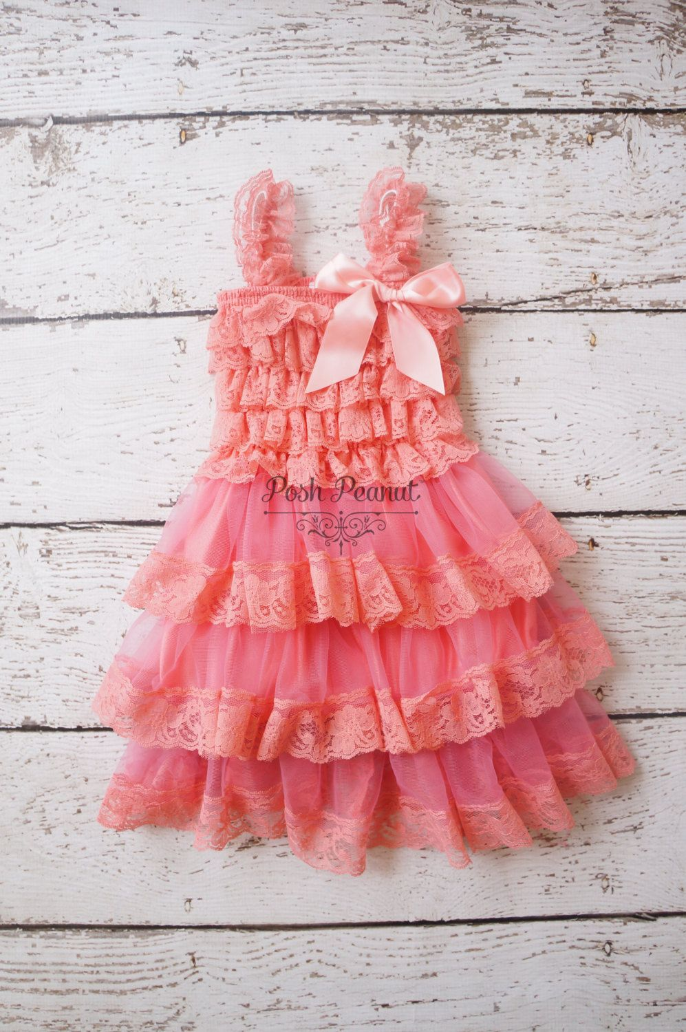 Coral Lace Flower Girl Dresses