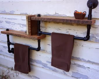 rustic bathroom wall shelves. Towel Racks for Bathroom Using Black Steel Pipe and Socket Weld Fittings  with Rustic Wooden Floating Shelves Mounted on Whitewashed Reclaimed Wood Wall also wood pipe wall shelf towel rack rustic