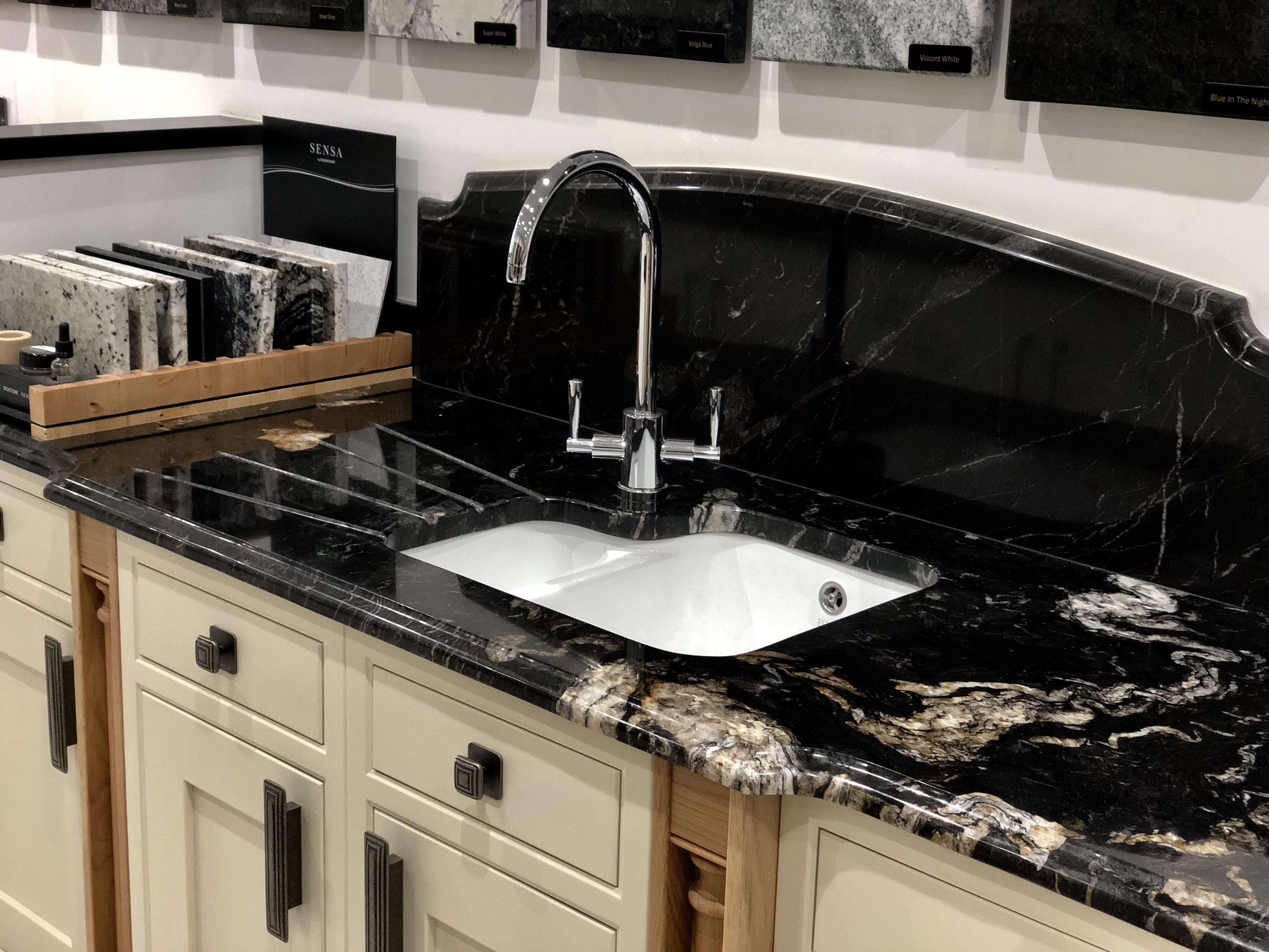 Cosmic Black granite worktops on display in our showroom in Chester