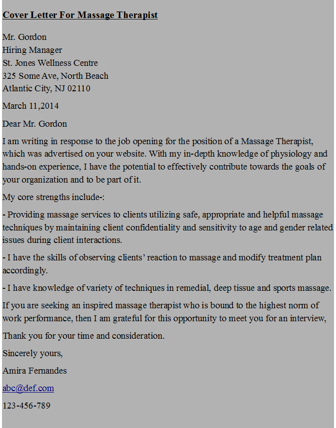 Cover Letter For Massage Therapist Resume Tips Sample Free Ideas