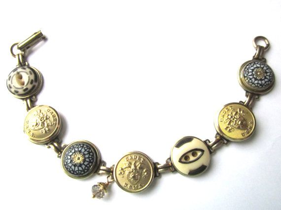 WEST POINT CADET antique button bracelet. Black \u0026 Gold. Show solidarity  with your cadet! USMA MOM!