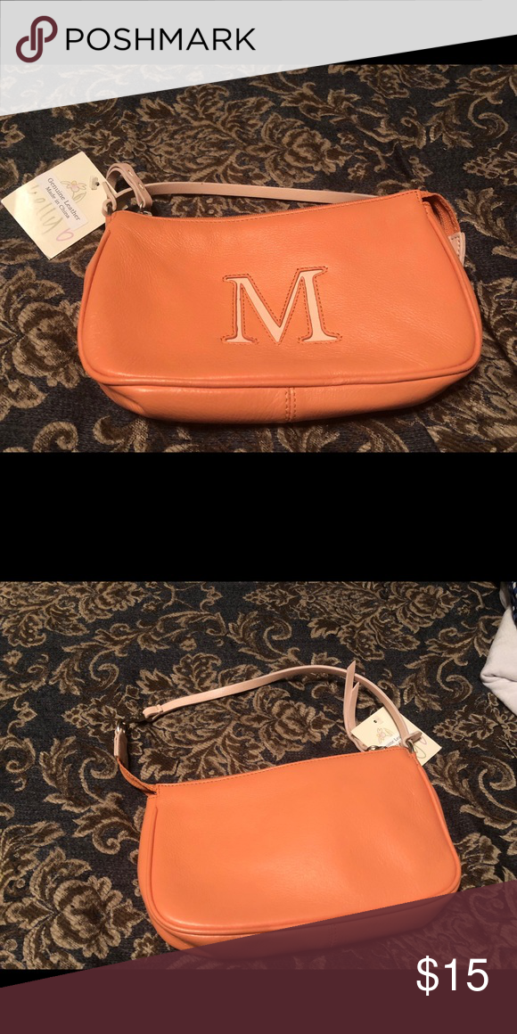 1811d0c7c97 Peach leather M handbag purse This gorgeous handbag is monogrammed with the  letter M. It s brand new with the tags! Bags Mini Bags