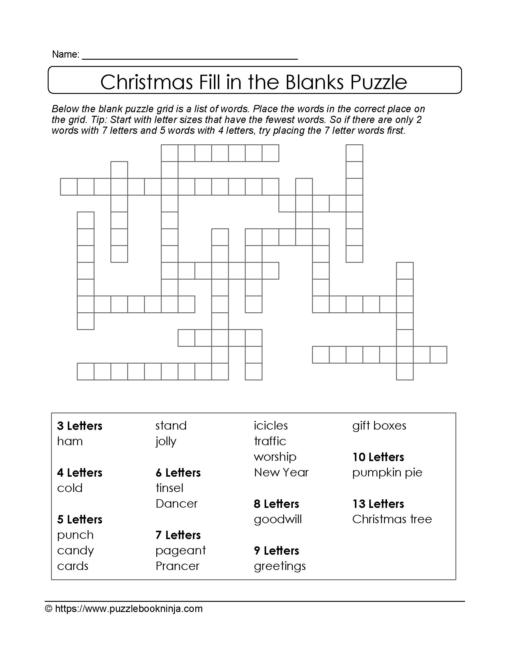 Freebie Xmas Puzzle To Print Fill In The Blanks Crossword