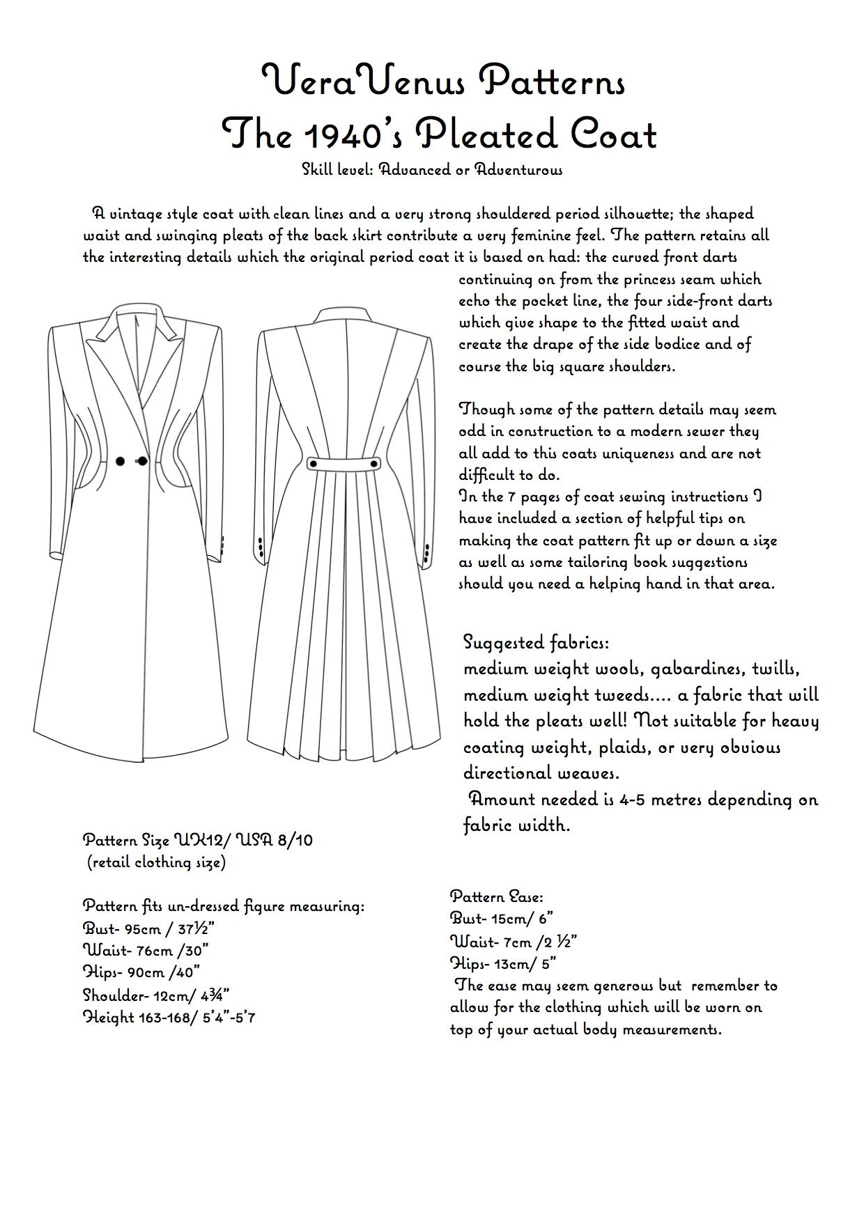 1940s coat pattern, general info | Sewing | Pinterest